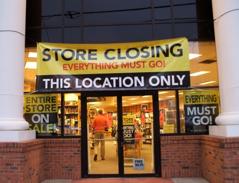 "Brookwood borders ""Store closing"" sign"