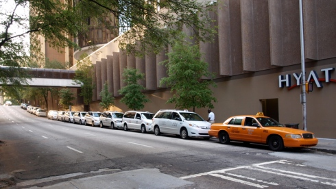 Line of taxis on Baker street, downtown Atlanta