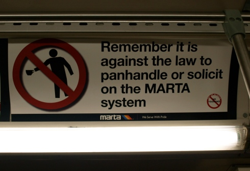 Sign posted on a bus running the 110 route Tuesday night