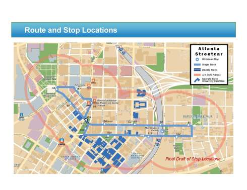 Downtown streetcar route map