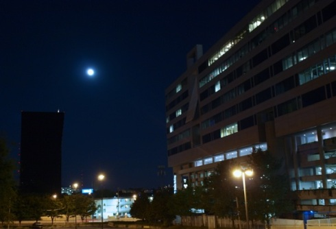 Full moon over Georgia Power HQ